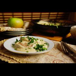 Рецепт: Свиная вырезка в сливочно-яблочном соусе
