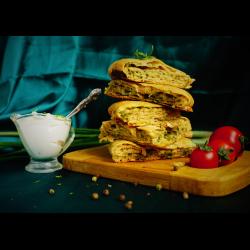 Рецепт: Пирог-лепешка с зеленью и сыром